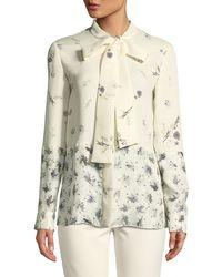 Derek Lam - Mixed Floral Tie-neck Silk Blouse - Lyst