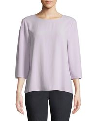Eileen Fisher - Silk Georgette Crepe 3/4-sleeve Top Petite - Lyst