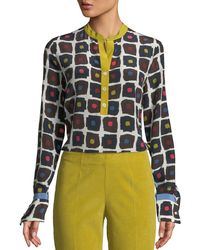 Piazza Sempione - Graphic Dot-print High-low Silk Henley Blouse - Lyst