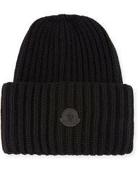 Lyst - Moncler Wool Striped Logo Beanie Hat in Blue for Men 7932b2a9347