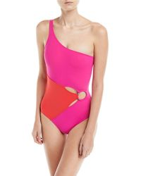 Diane von Furstenberg - O-ring One Shoulder Maillot - Lyst