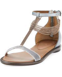 Brunello Cucinelli - Velvet T-strap Sandal With Monili Drape - Lyst