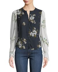 Joie - Abboid Floral Silk Long-sleeve Top - Lyst