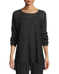 Eileen Fisher - Sparkle Crepe Bateau-neck Tunic Sweater - Lyst