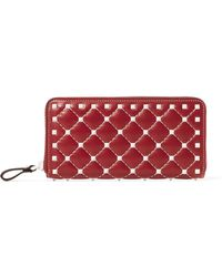 Valentino - Rockstud Spike Quilted Leather Wallet - Lyst
