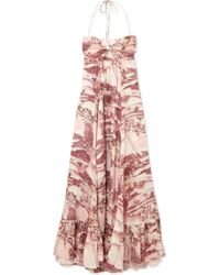 bc8269644a Zimmermann Kali Hawaiian Long Linen Coverup Dress in Purple - Lyst