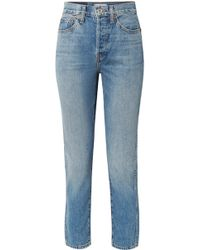 RE/DONE - Originals Double Needle Crop Hoch Sitzende Karottenjeans - Lyst