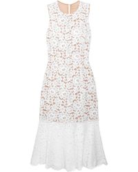 Michael Kors - Cotton-blend Corded Lace Midi Dress - Lyst