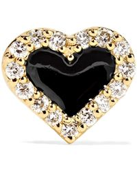 Alison Lou - Heart 14-karat Gold, Diamond And Enamel Earring - Lyst