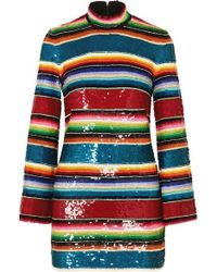 Ashish Striped Sequined Cotton Mini Dress