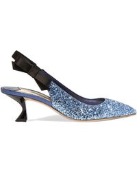 Miu Miu - Glittered Leather And Satin Slingback Court Shoes - Lyst