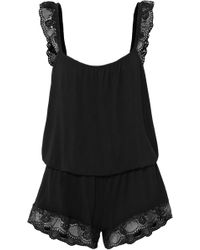 Eberjey - Noor The Primped Lace-trimmed Stretch-modal Jersey Playsuit - Lyst