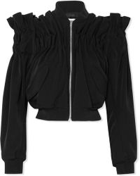 Noir Kei Ninomiya - Cropped Ruched Faille Bomber Jacket - Lyst