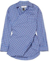 Facetasm - Embroidered Checked Cotton-poplin Shirt - Lyst
