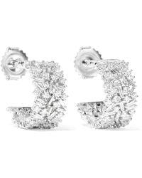 Suzanne Kalan - 18-karat White Gold Diamond Hoop Earrings - Lyst