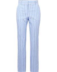 Victoria, Victoria Beckham - Striped Cotton-poplin Slim-leg Trousers - Lyst