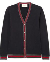 Gucci - Striped Wool Blend-trimmed Wool Cardigan - Lyst