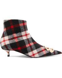 Balenciaga - Knife Ankle Boots Aus Wolle Mit Tartan-muster Und Logoverzierung - Lyst