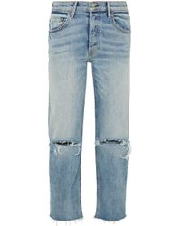GRLFRND - Helena Distressed High-rise Straight-leg Jeans - Lyst