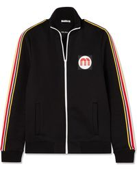 Miu Miu - Striped Cotton-blend Jersey Track Jacket - Lyst