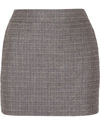 Saint Laurent - Checked Slub Wool And Mohair-blend Mini Skirt - Lyst