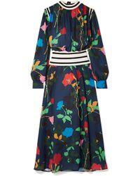 MSGM - Robe Longue En Crêpe De Chine Et En Mailles Côtelées À Imprimé Fleuri - Lyst