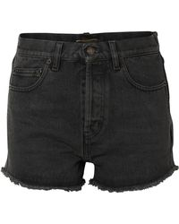 Saint Laurent - Frayed Denim Shorts - Lyst