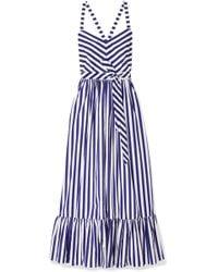 J.Crew - Ruffled Striped Cotton-poplin Maxi Dress - Lyst