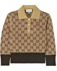 Gucci - Metallic-trimmed Intarsia Wool Sweater - Lyst