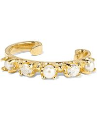 Loren Stewart - Gold, Diamond And Pearl Ear Cuff Gold One Size - Lyst