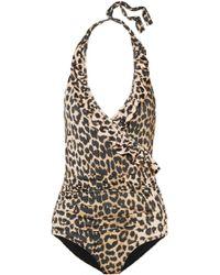Ganni - Avalon Ruffled Leopard-print Halterneck Swimsuit - Lyst