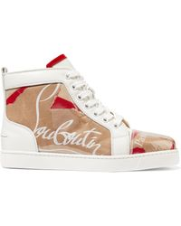 Christian Louboutin - Louis Leather And Logo-print Pvc Sneakers - Lyst