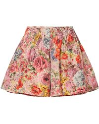 Valentino | Skirt-effect Floral-print Wool And Silk-blend Shorts | Lyst