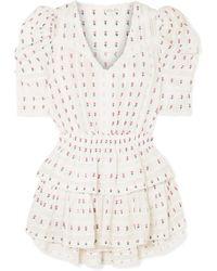 LoveShackFancy - Marissa Crochet-paneled Embroidered Cotton-voile Mini Dress - Lyst