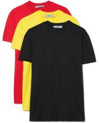 Prada - Set Of Three Cotton-jersey T-shirts - Lyst