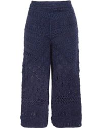 Tabula Rasa - Sahara Macramé Silk And Cotton-blend Culottes - Lyst