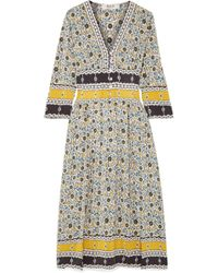 Sea - Pleated Floral-print Silk Midi Dress - Lyst