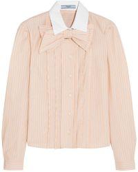 Prada - Bow-embellished Ruffled Striped Cotton Shirt - Lyst