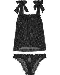 Le Petit Trou - Lou Ruffled Glittered Polka-dot Stretch-tulle Pyjama Set - Lyst