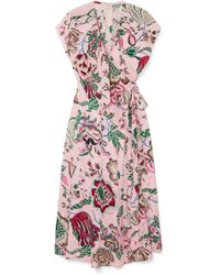 Tory Burch - Adelia Ruffled Floral-print Crepe De Chine Wrap Dress - Lyst
