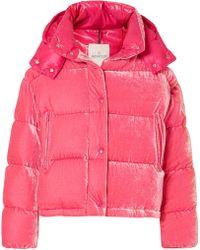 Moncler - Quilted Velvet Down Jacket - Lyst