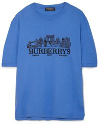 Burberry - Oversized Embroidered Cotton-jersey T-shirt - Lyst