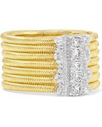 Buccellati - Hawaii 18-karat Yellow And White Gold Diamond Ring Gold 52 - Lyst
