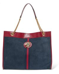 Gucci - Rajah Large Patent Leather-trimmed Suede Tote - Lyst