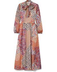 Paul & Joe - Pussy-bow Floral-print Silk-chiffon Midi Dress - Lyst