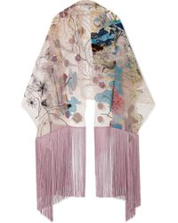 Valentino - Embroidered Silk-tulle Scarf - Lyst