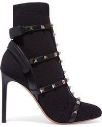 Valentino - Garavani The Rockstud Leather-trimmed Stretch-knit Sock Boots - Lyst
