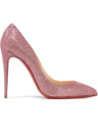 Christian Louboutin - Pigalle Follies 100 Glittered Canvas Pumps - Lyst