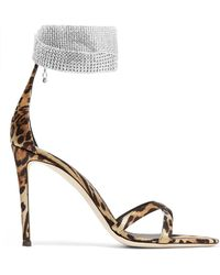 fc5975f9bf2e7c Giuseppe Zanotti - Swarovski Crystal-embellished Leopard-print Satin Sandals  - Lyst