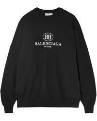 Balenciaga - Embroidered Wool-blend Jumper - Lyst
